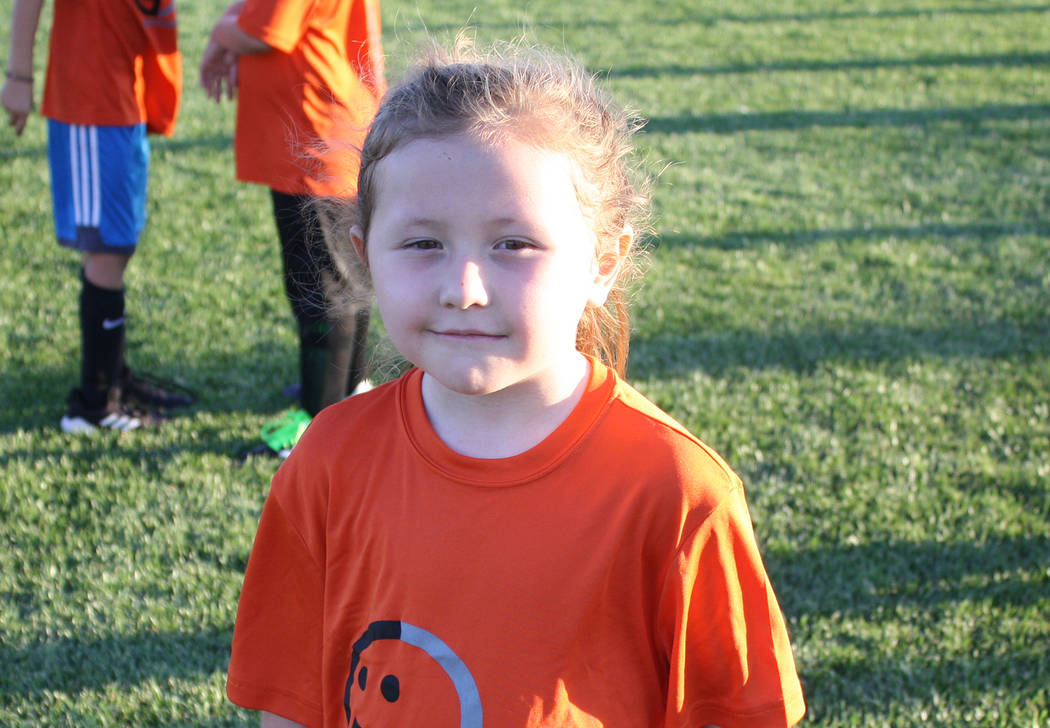 Kelly Lehr River Hess plays for the Lions in Boulder City Parks and Recreation Department's first- and second-grade youth soccer league.