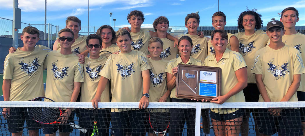 Amy Wagner Members of Boulder City High School's boys tennis team celebrate their regional championship win over The Meadows on Friday, Oct. 5, 2018.