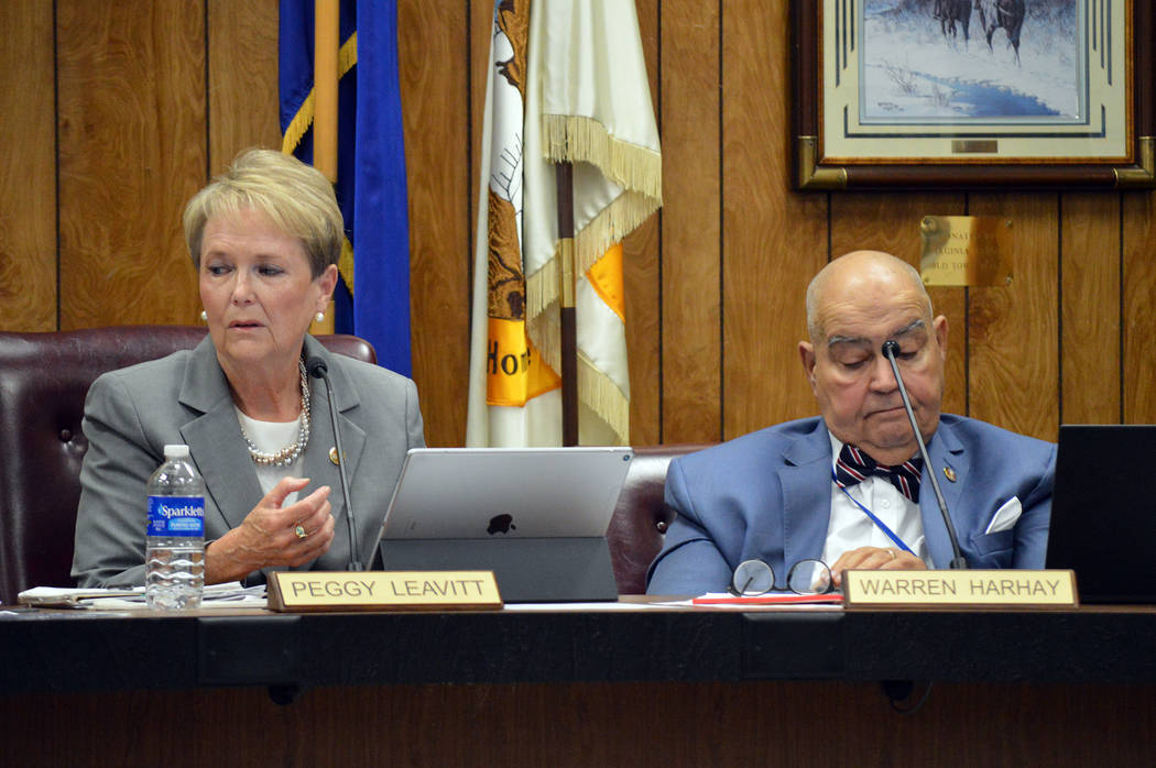 Celia Shortt Goodyear/Boulder City Review Councilwoman Peggy Leavitt discusses waiting to move forward with a proposed utility advisory committee during the City Council meeting Tuesday while Coun ...