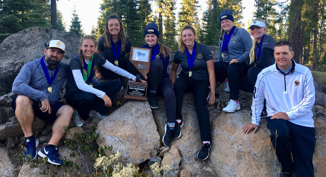 Kelly Reese The girls varsity golf team from Boulder City High School celebrates is second consecutive state championship Tuesday, Oct. 16. The Lady Eagles had a six-stroke lead after starting the ...