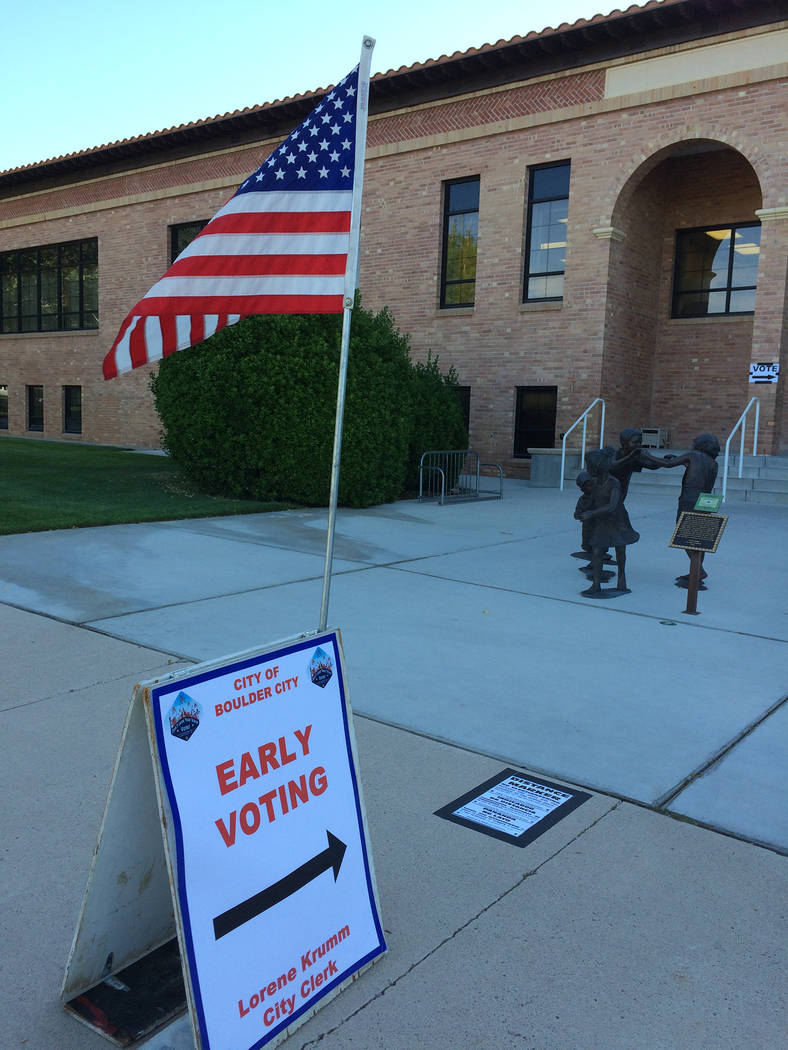 Early voting for the general election Nov. 6 starts Saturday, Oct. 20, and goes through Friday, Nov. 2. Registered voters will be able to cast their ballots in Boulder City from 7 a.m. to 6 p.m. M ...