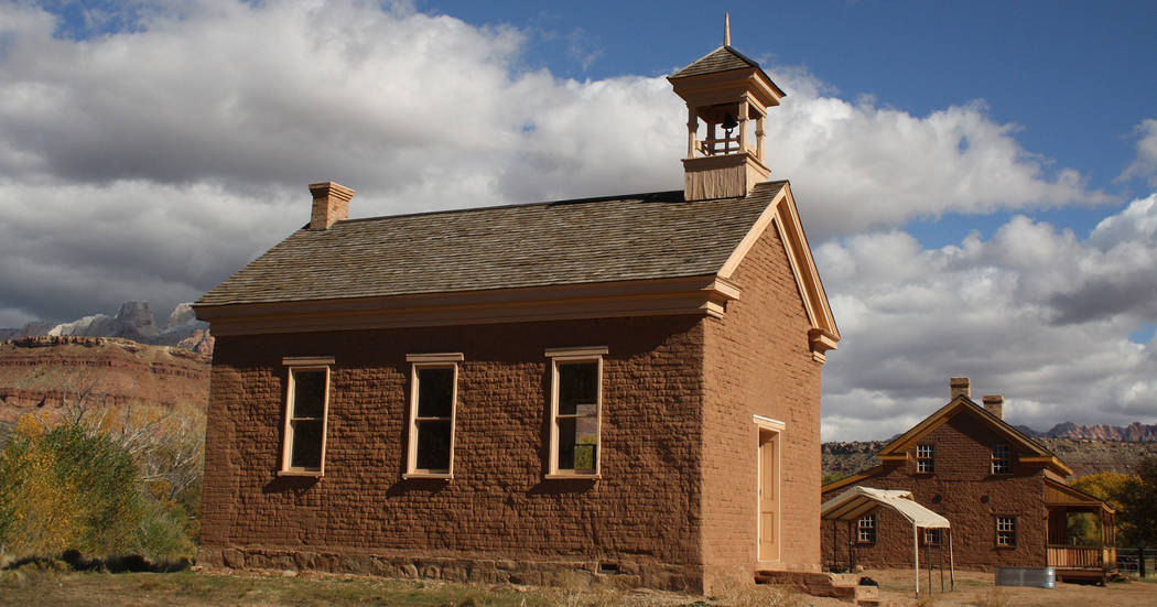 Deborah Wall The Grafton Schoolhouse/church was built in 1886 of rustic adobe on a foundation of lava rocks. The abandoned town is about 20 minutes away from the main entrance to Zion National Par ...