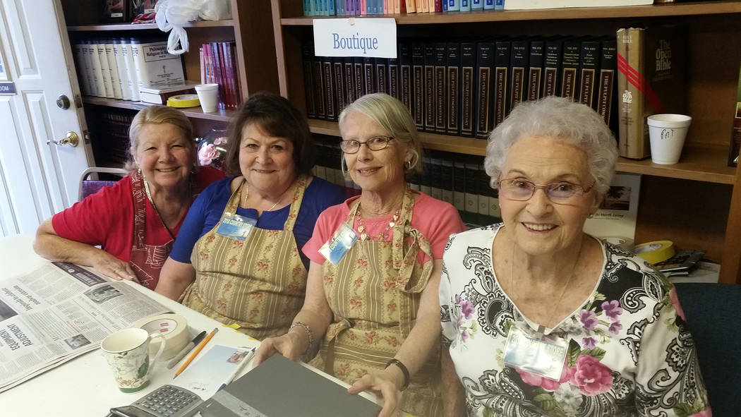 Celia Shortt Goodyear/Boulder City Review Grace Community Church's Country Store has many volunteers who help with the event, including, from left, Darlene Looney, who works in the Boutique, Amy P ...