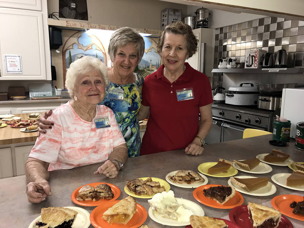 Hali Bernstein Saylor/Boulder City Review A popular place at Grace Community Church's annual Country Store is the cafe where, from left, Dorothy Rants, Sheryl Mayes and Olivia Dudek served pie and ...