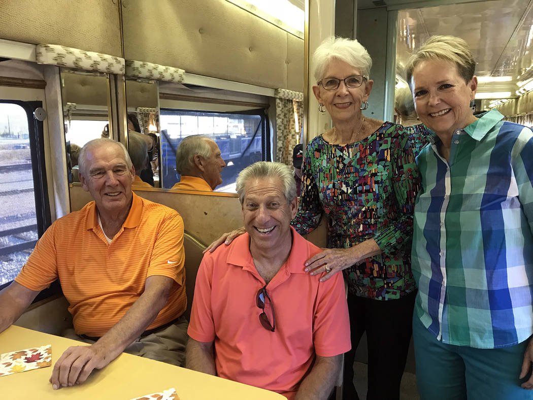 Hali Bernstein Saylor/Boulder City Review Among those attending Brews and Choo-Choos on Friday, Oct. 19 were, from left, Ross Johnson, Mark Fastow, Susan Johnson and Peggy Leavitt.