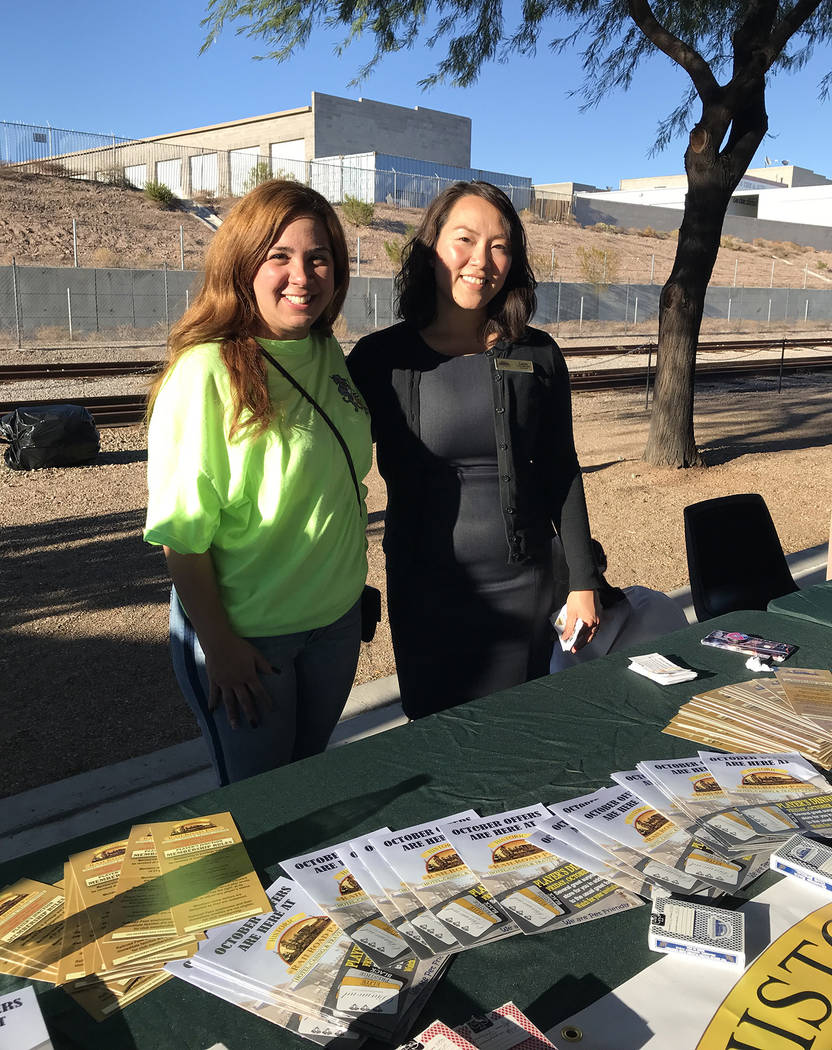 Hali Bernstein Saylor/Boulder City Review Maylen Mosquera, left, sales manager, and Lana Wroblewski, hotel manager, from Railroad Pass Casino were at Brews and Choo-Choos on Friday, Oct. 19. Railr ...