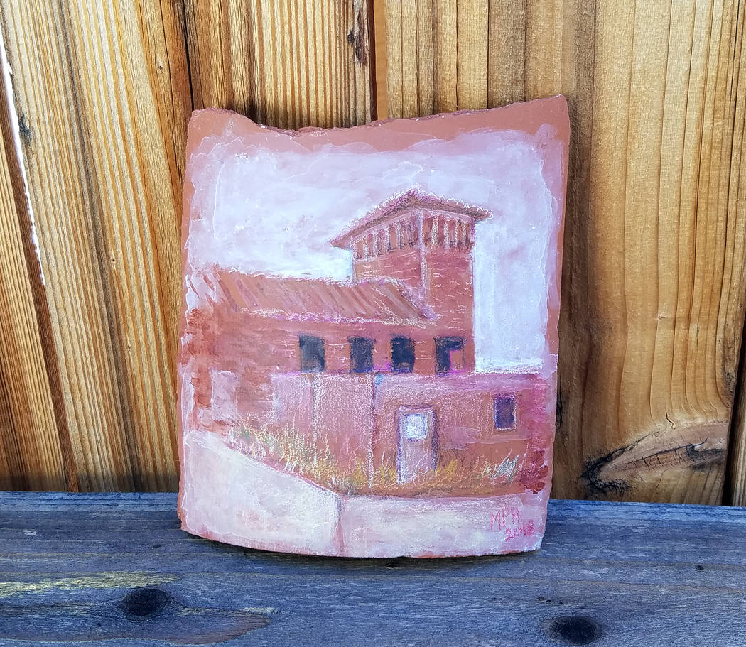"Tom Marvin Local artist Marion ""Happy"" Hoekenga created a picture of the historic water filtration plant on a tile from its old roof. The Boulder City Art Guild and Boulder City History & Arts ..."