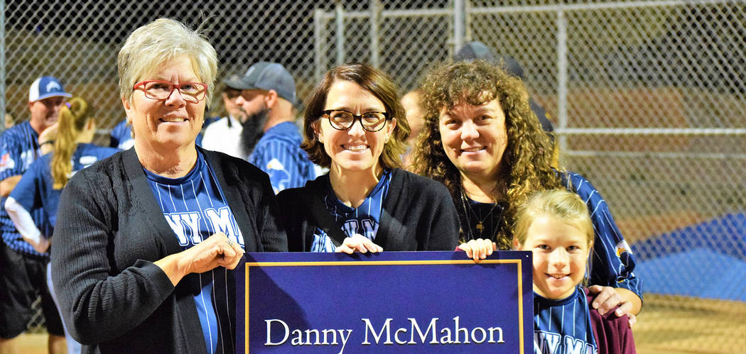 Robert Vendettoli/Boulder City Review Among those attending the Oct. 18 dedication of a softball field at Hemenway Valley Park to the late Danny McMahon were, from left, Judy McMahon, Kesha McMaho ...