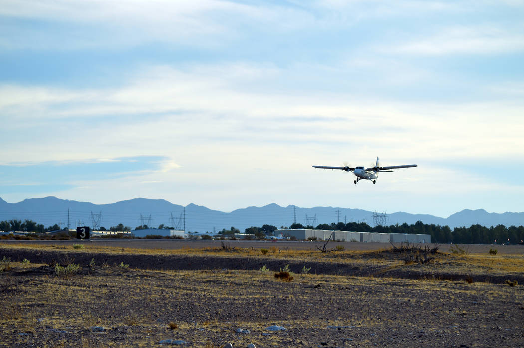 Celia Shortt Goodyear/Boulder City Review A plane takes off from a runway at the Boulder City Municipal Airport. The airport is moving forward with installing an airport control tower to increase ...