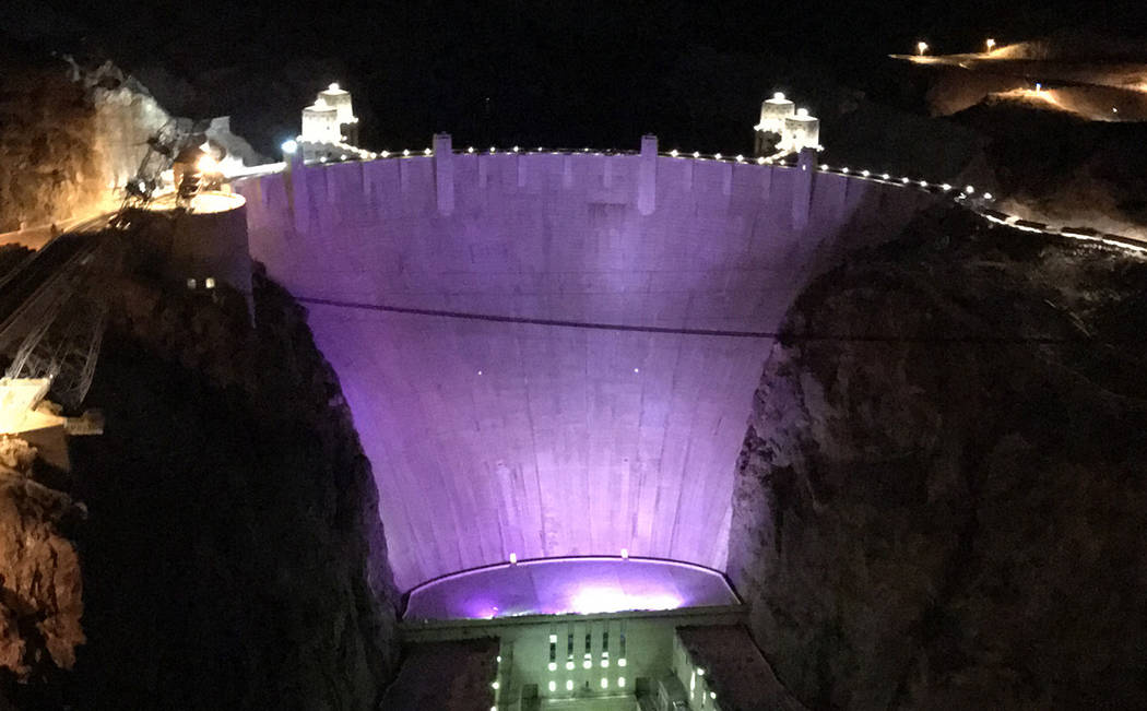 (Hali Bernstein Saylor/Boulder City Review) Hoover Dam was lit purple Monday, Oct. 29 to help raise awareness of domestic violence. According to the National Network to End Domestic Violence, more ...