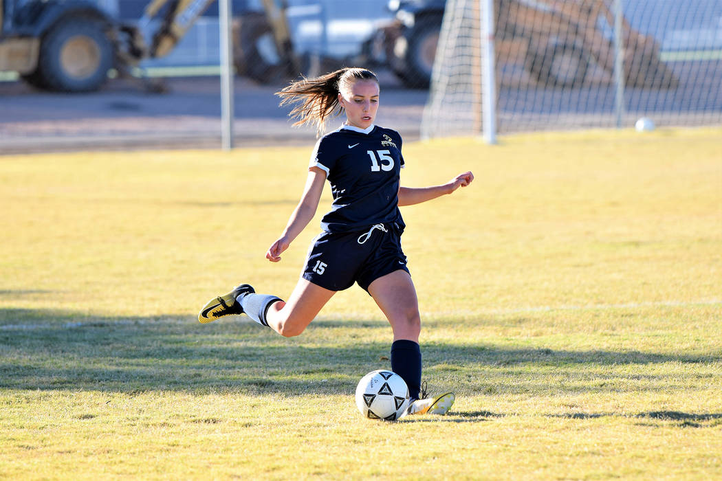 (Robert Vendettoli/Boulder City Reivew) Boulder City High School Junior Madison Manns soars a kick down field for the Lady Eagles against Moapa Valley on Oct. 24, 2018. The girls won 1-0 and heade ...