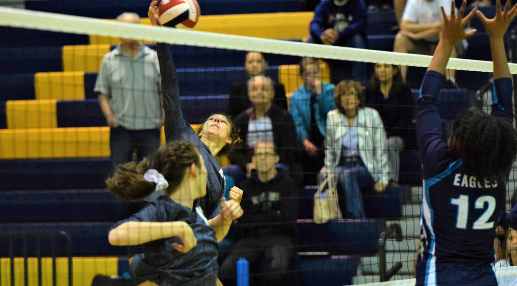 (Robert Vendettoli/Boulder City Review) Boulder City High School senior Setia Cox rises up for a kill against Sky Pointe on Oct. 24. The girls won 3-1.