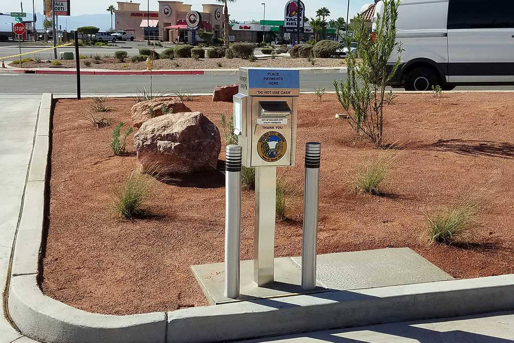 (Boulder City) Boulder City has added a utility payment dropbox at the new Boulder Dam Credit Union ATMs on the corner of Boulder City Parkway and Yucca Street. According to the city, meter reade ...