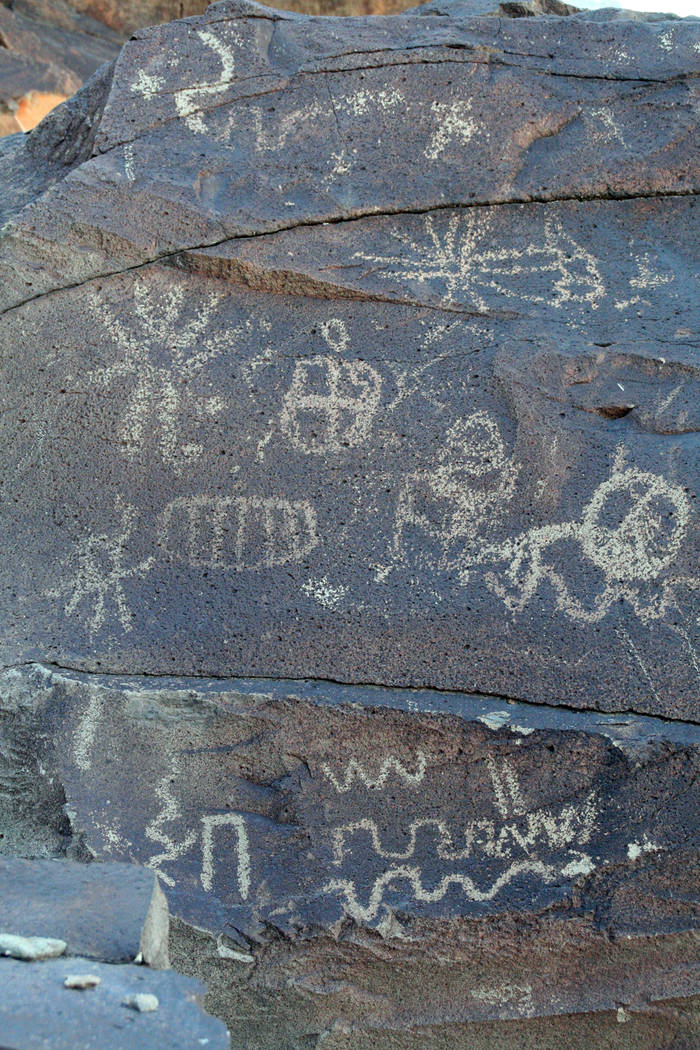 (Deborah Wall) Grapevine Canyon in the Lake Mead National Recreation Area is one of the finest American Indian rock art sites in Southern Nevada. Petroglyphs were made by pecking on the natural de ...