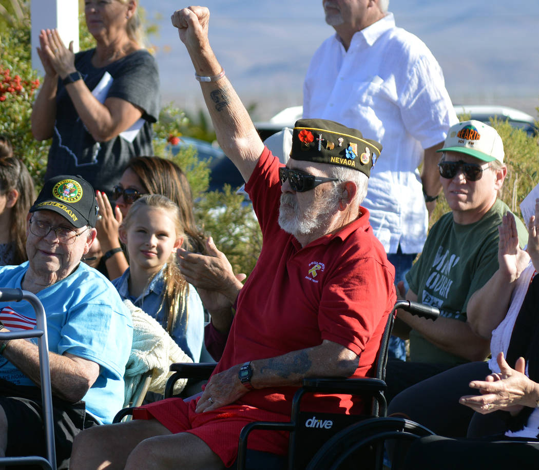 U.S. Army Sgt. 1st Class James Duffin is recognized at the 2017 Veterans Day ceremony last year. The 2018 ceremony is at 1:30 p.m. Sunday, Nov. 11, at the Nevada State Veterans Home, 100 Veterans ...