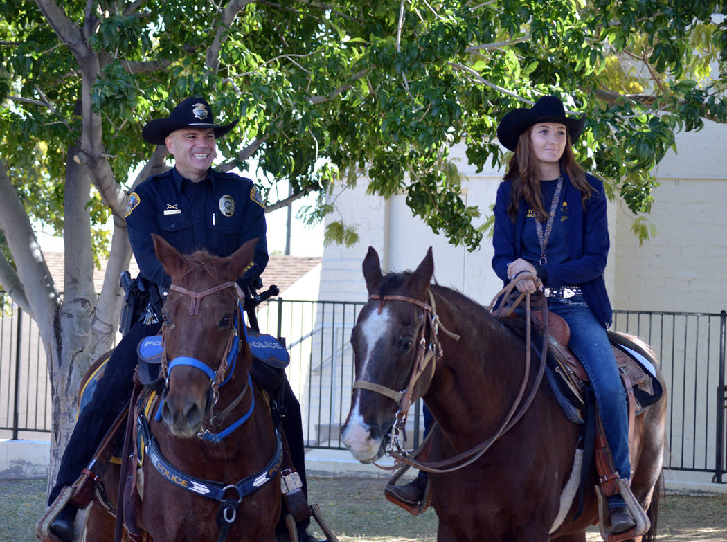 Celia Shortt Goodyear/Boulder City Review Boulder City Police Officer Scott Pastore and Odie talked to Grace Christian Academy students on Wednesday, Oct. 31, about the proper care of horses along ...