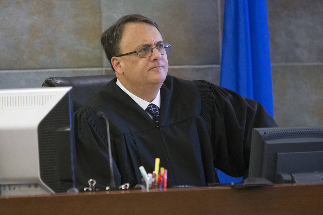 District Judge Richard Scotti presides over a case at the Regional Justice Center in Las Vegas in 2017.