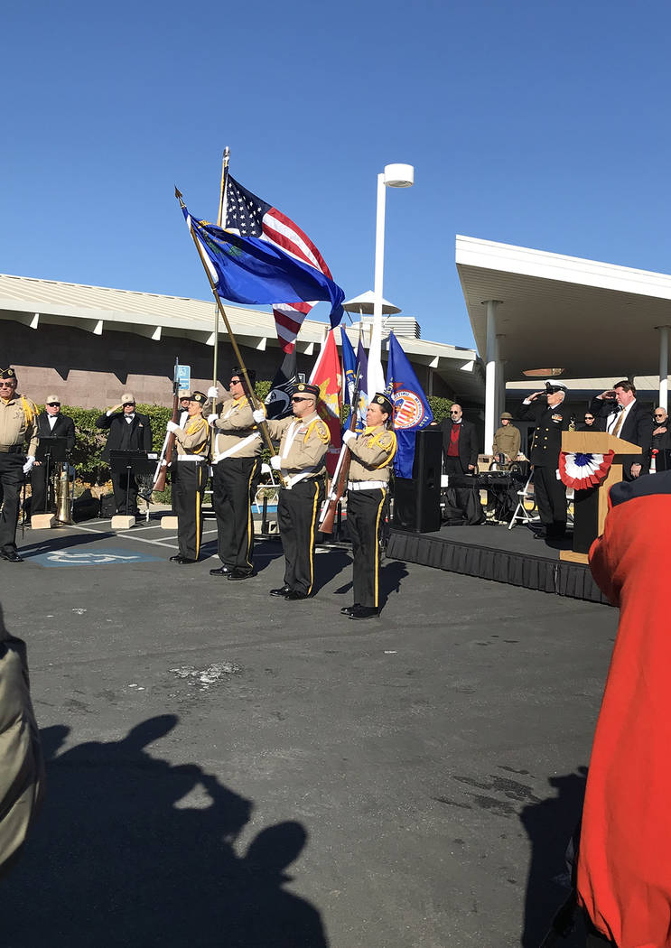 (Hali Bernstein Saylor/Boulder City Review) Members of the Disabled American Veterans, Chapter, 12, presented the colors to start the Veterans Day ceremony Sunday, Nov. 11, 2018, at the Nevada Sta ...