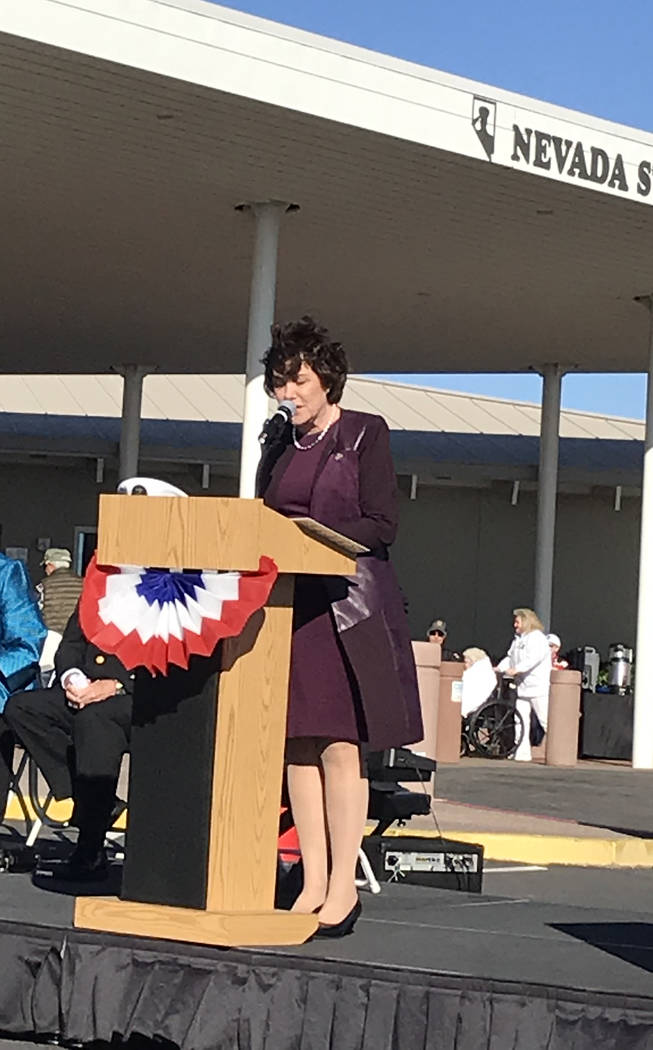 (Hali Bernstein Saylor/Boulder City Review) Rep. Jacky Rosen spoke about veterans' service and sacrifice during the Veterans Day ceremony at the Nevada State Veterans Home in Boulder City on Sunda ...