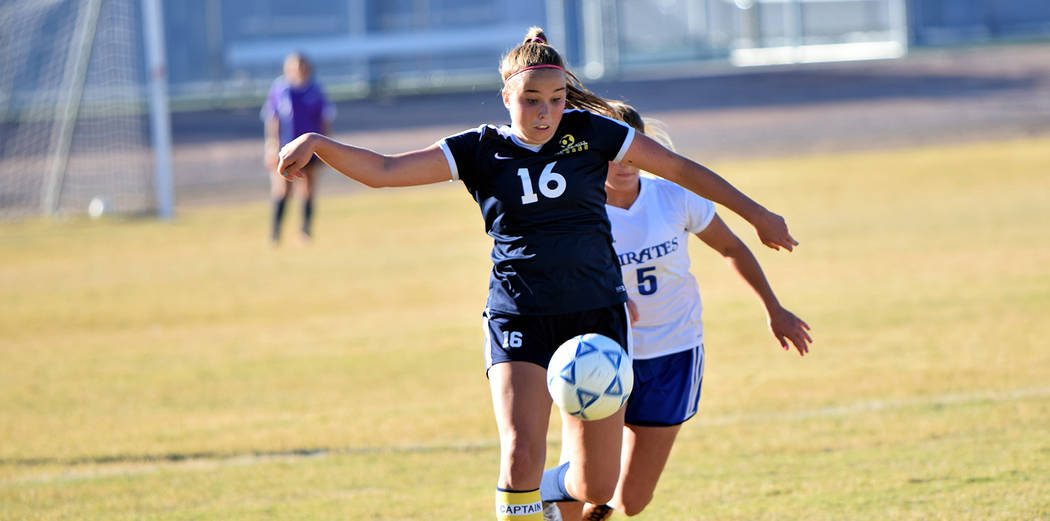 (Robert Vendettoli/Boulder City Review) Makenna Arboreen, a junior at Boulder City High School, seen in action Oct. 24, in the Lady Eagles' 1-0 win against Moapa Valley, was named the 3A Sunrise L ...