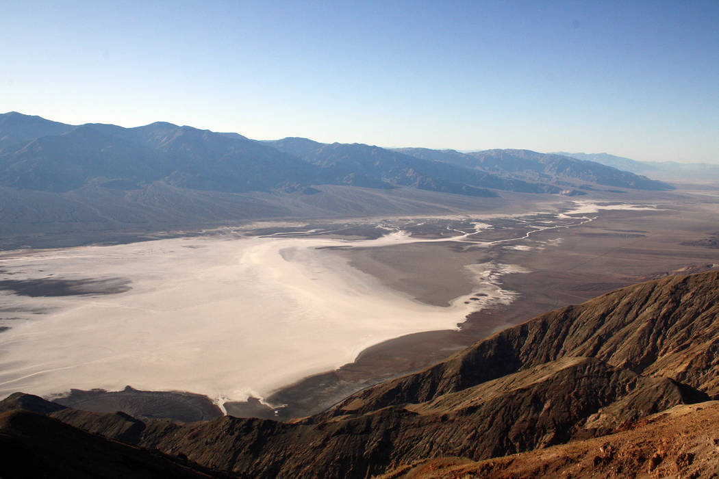 Deborah Wall Badwater Basin, as seen from Dantes View, is the lowest point in the United States. It is located within Death Valley National Park.