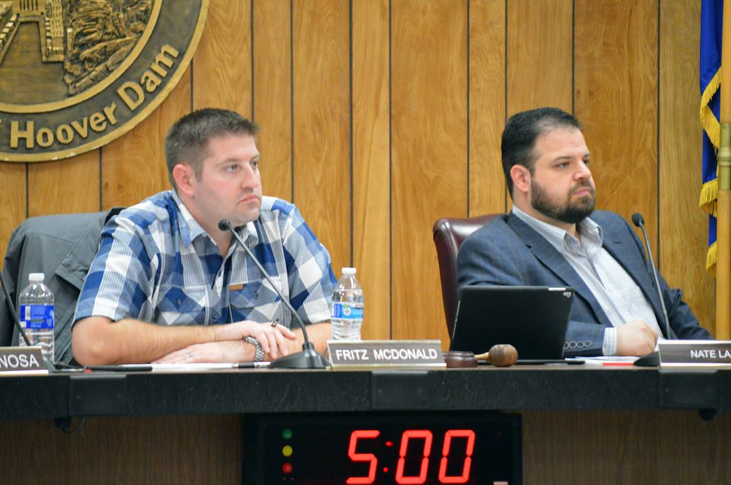 Celia Shortt Goodyear/Boulder City Review Planning Commission Chairman Fritz McDonald, left, and Commissioner Nate Lasoff listen to a presentation at the commission meeting on Wednesday, Nov. 14, ...