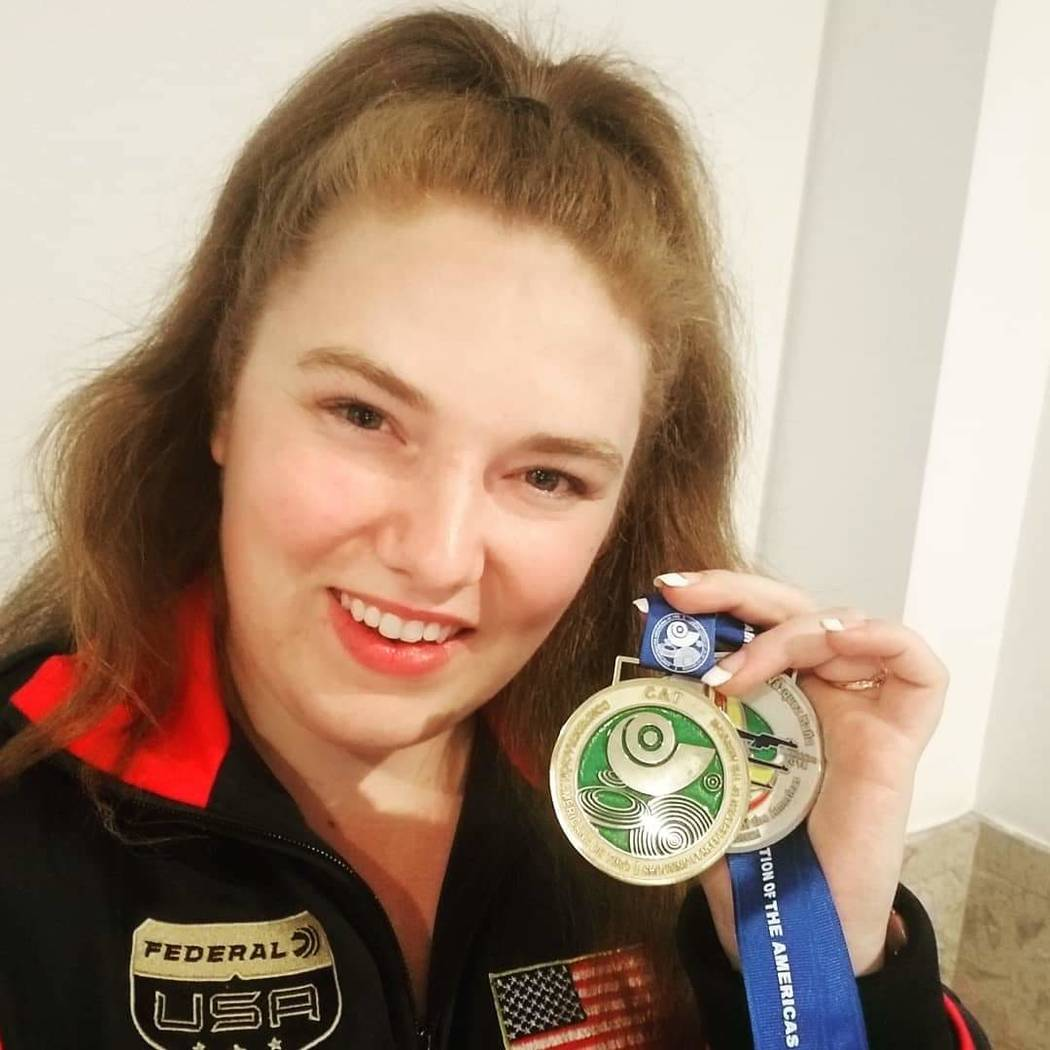 "Alexis ""Lexi"" Lagan of Boulder City won the women's sport pistol title at the Championship of the Americas in Guadalajara, Mexico."