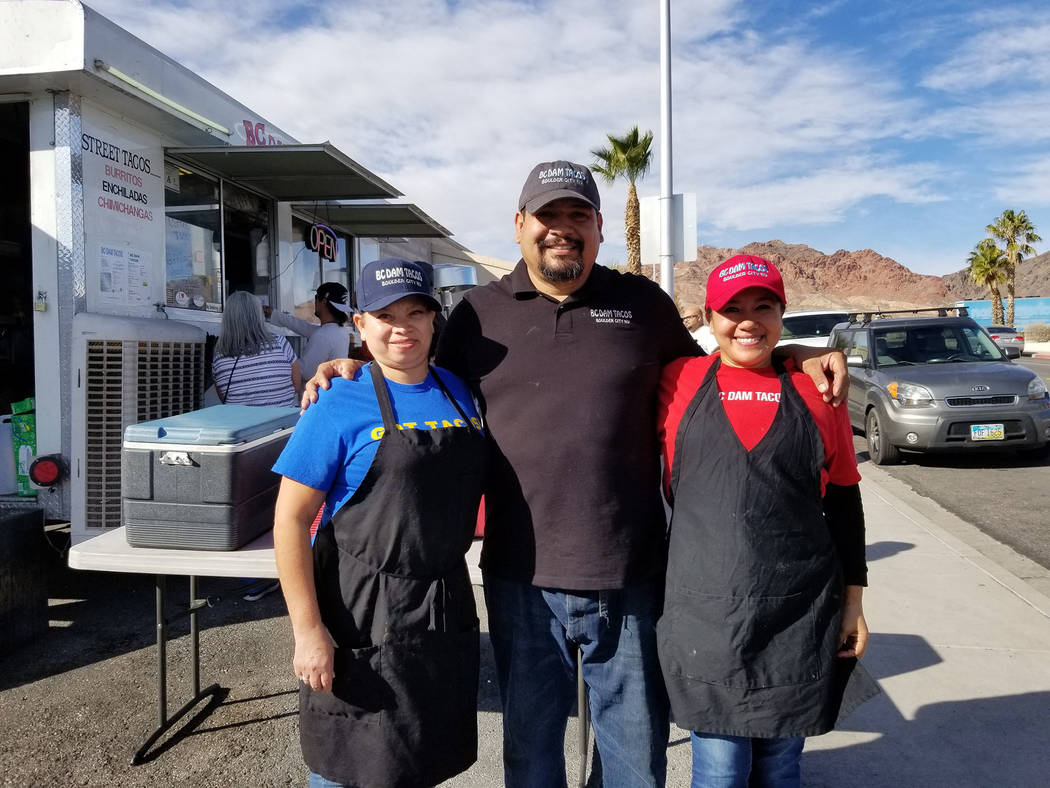 (Celia Shortt Goodyear/Boulder City Review) BC Dam Tacos owner and staff, from left, Mary Calderon, Rolando Medrano, and Martha Lomeli, recently celebrated one year of business at 708 Canyon Road.