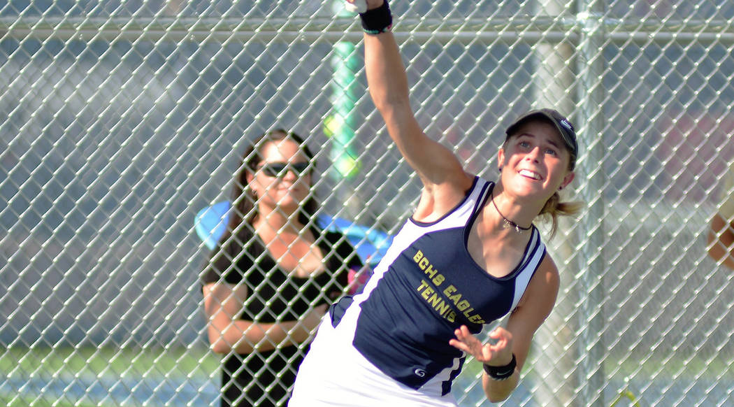 Boulder City High School junior Olivia Mikkelson, seen winning her matches against The Meadows on Aug. 23, was named the 3A Southern Region player of the year after winning her second consecutive ...