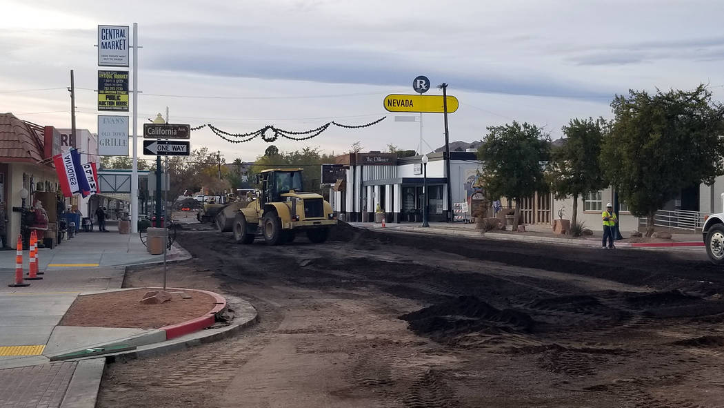 (Celia Shortt Goodyear/Boulder City Review) A two-phase construction project for upgrades and improvements on Arizona Street is underway. The project includes excavation, grading and paving as wel ...