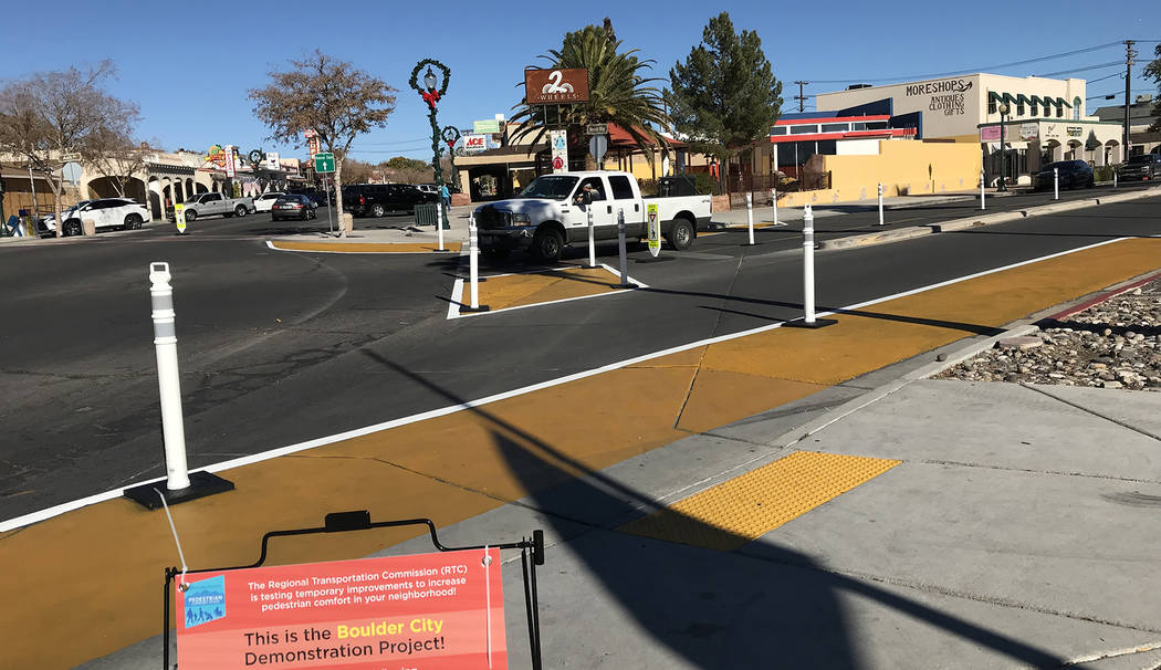 (Hali Bernstein Saylor/Boulder City Review) The crosswalks at the intersection of Wyoming Street and Nevada Way have been modified to increase pedestrian comfort and safety as part of a demonstrat ...