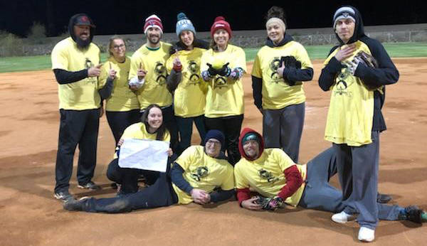 Kelly Lehr Showing off their championship T-shirts from Boulder City Parks and Recreation Department's co-ed softball league on Sunday, Dec. 2, are members of TQ Pallets, back row, from left, Jame ...