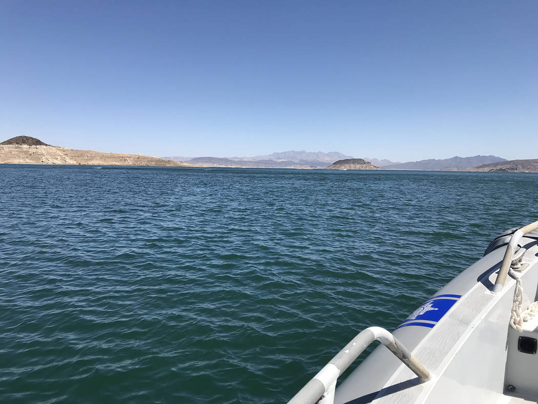 (Hali Bernstein Saylor/Boulder City Review) Lake Mead, as seen from the water in May 2018.