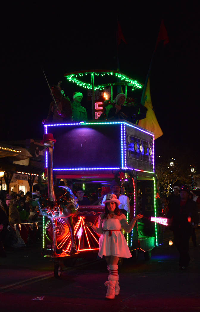 (Celia Shortt Goodyear/Boulder City Review) Dr. Spanky's Musical Menagerie debuted a double-decker float on Saturday, Dec. 1, in Santa's Electric Night Parade in Boulder City.