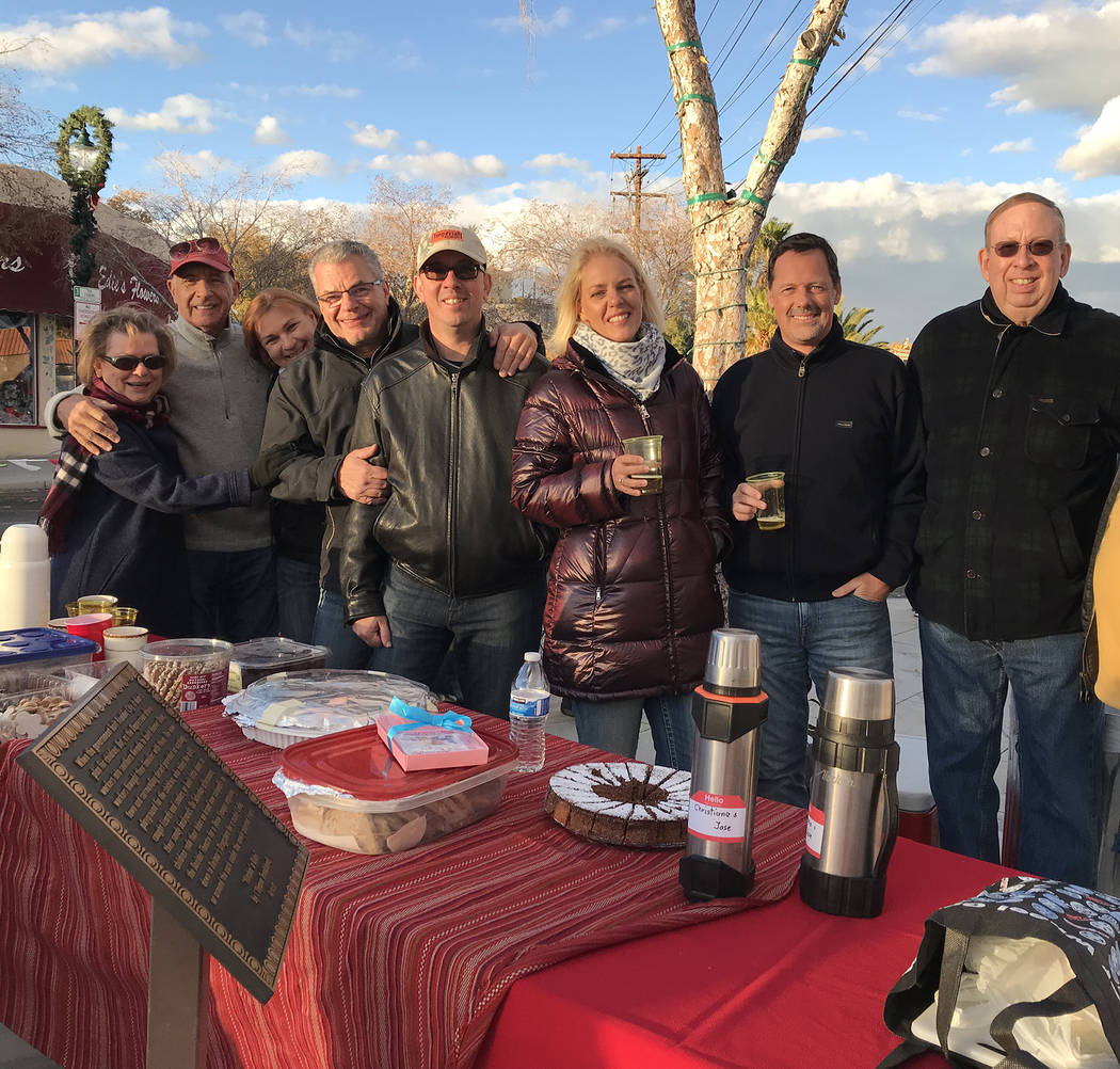 (Hali Bernstein Saylor/Boulder City Review) Originally from Germany, Switzerland and Belgium, a group of friends gathers each December for an outdoor party and to watch Santa's Electric Night Para ...