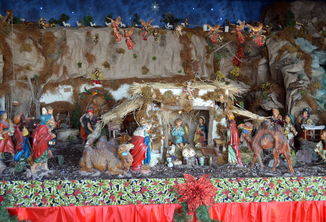 (Celia Shortt Goodyear/Boulder City Review) The Angora Family Nativity at 1296 Lynwood St. in the Gingerwood Mobile Home Park is open for its 62nd year. It is open until 10 p.m. nightly and best v ...