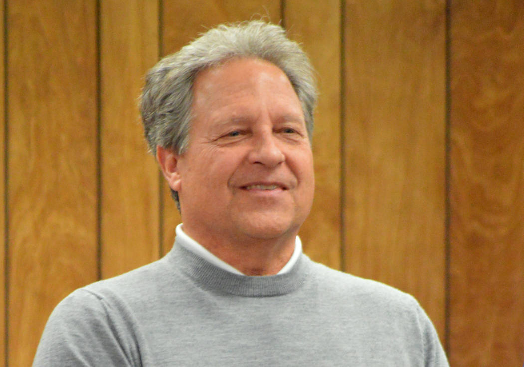 (Celia Shortt Goodyear/Boulder City Review) Tony Fiorentini was recognized by City Council at its meeting Tuesday, Dec. 11, for his 25 years of service running the municipal golf course.