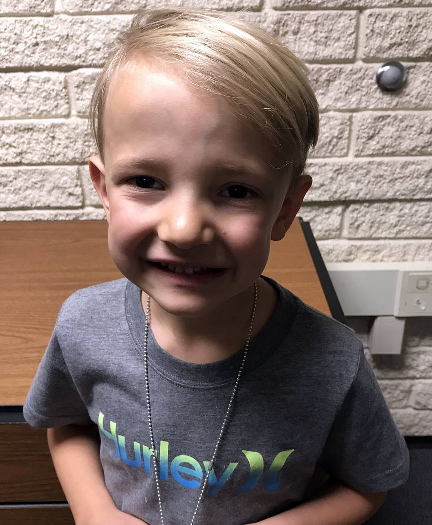 (Hali Bernstein Saylor/Boulder City Review) Dylan Smith, 6, a first-grader at Mitchell Elementary School in Boulder City, said a robot was his favorite Christmas present.
