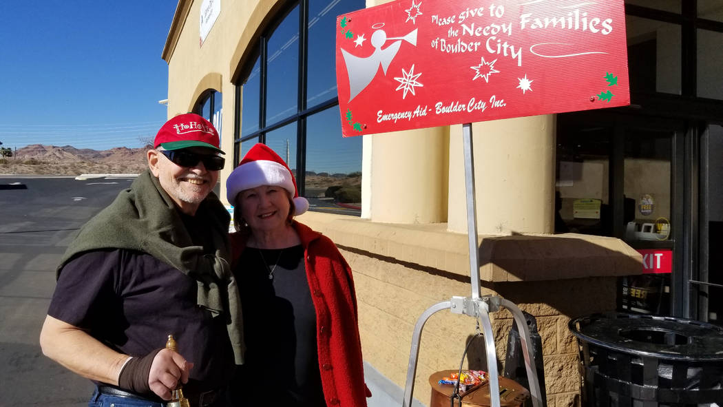 (Celia Shortt Goodyear/Boulder City Review) David and Lynn Sommer, members of St. Andrews Catholic Church and volunteers with Emergency Aid of Boulder City shared their favorite Christmas presents ...