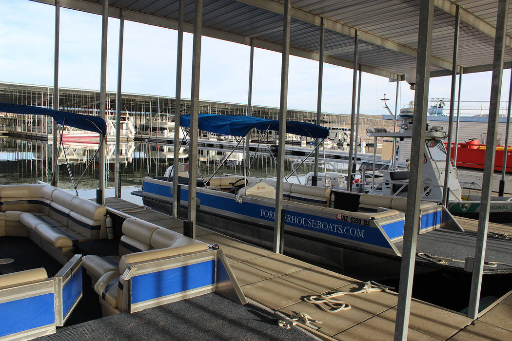 (Deborah Wall) The Temple Bar Marina rents all sorts of watercraft including kayaks, fishing boats and deck boats.