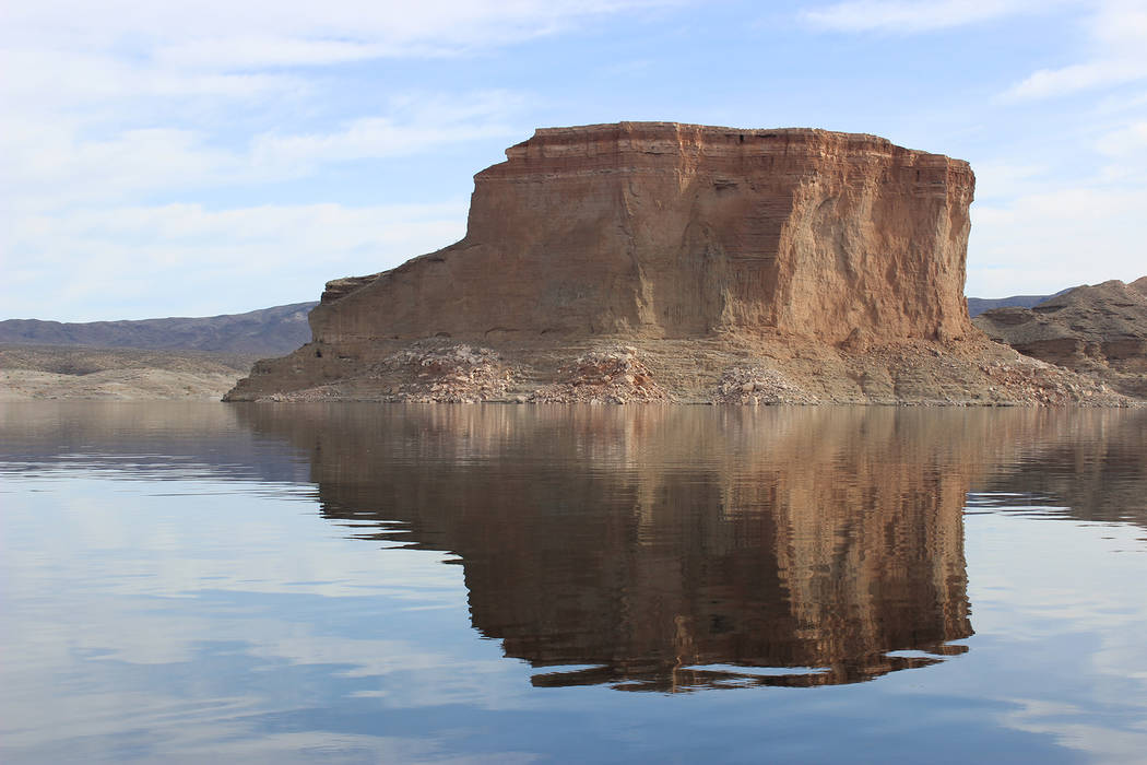 (Deborah Wall) The Temple Bar formation in Arizona, seen from Lake Mead, is named for its resemblance to a building.