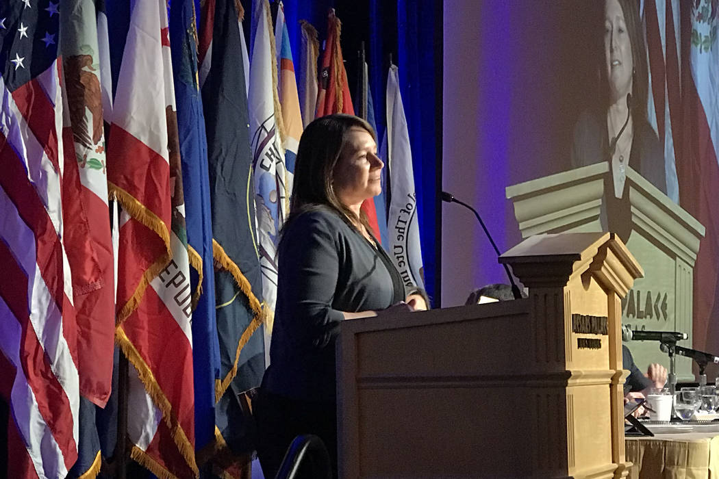 (Henry Brean/Las Vegas Review-Journal) U.S. Bureau of Reclamation Commissioner Brenda Burman speaks during the annual meeting of the Colorado River Water Users Association on Dec. 13 at Caesars Pa ...