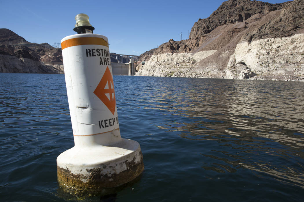 (Richard Brian/Las Vegas Review-Journal) A buoy marks the restricted area to the Hoover Dam intake towers along the Colorado River's Black Canyon at Lake Mead National Recreation Area outside of L ...