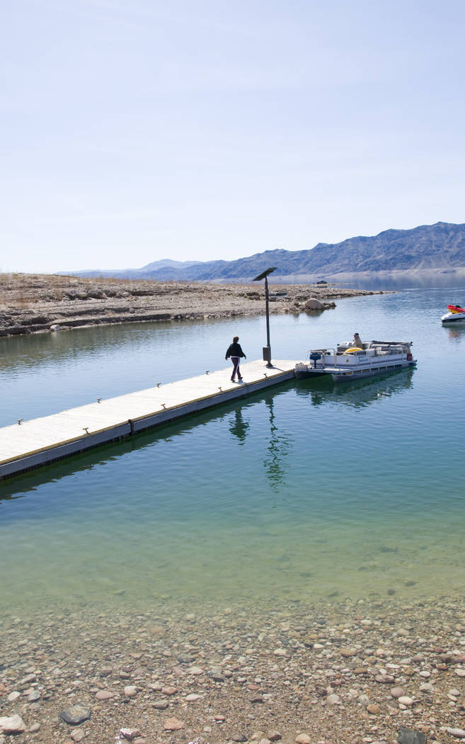 The dock at South Cove boat launch ramp, near the eastern end of Lake Mead National Recreation Area, as it looked in September 2007, when the lake level was about 30 feet higher than it is now. Na ...