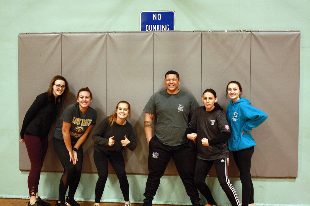 Boulder City Frosty the Dodgeman team took home first place in the first Holiday Dodgeball Tournament put on by the Boulder City Parks and Recreation Department, from left Hannah Estes, Kailee Fis ...