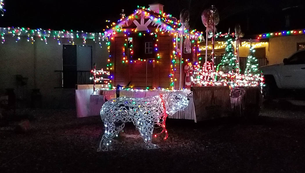 (Celia Shortt Goodyear/Boulder City Review) This home on Del Prado Drive includes lights and Santa's workshop.