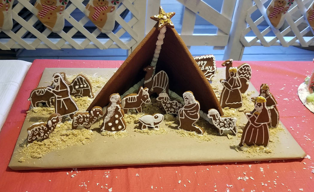 "Celia Shortt Goodyear/Boulder City Review Vickie Eggert and Karen Taylor's gingerbread house titled, ""Happy Birthday Jesus,"" took first place in the Boulder City/Hoover Dam Museum's ging ..."