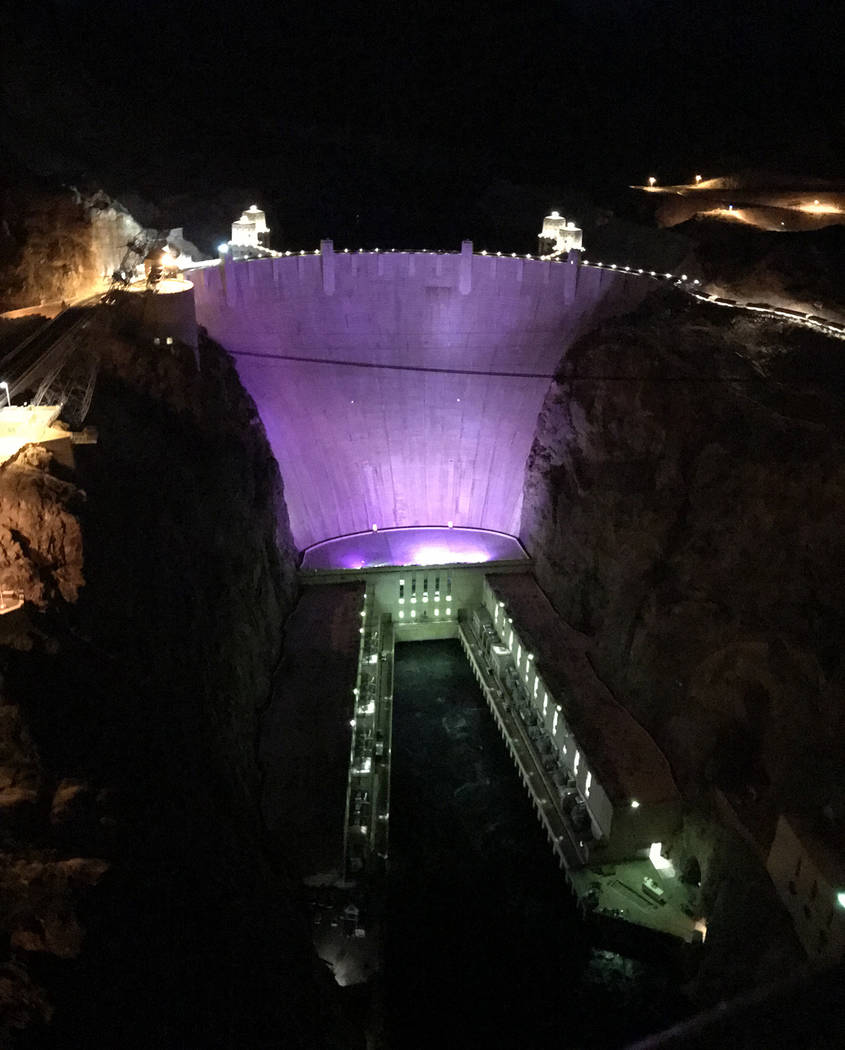 From November: Hoover Dam was lit purple to help raise awareness of domestic violence. According to the National Network to End Domestic Violence, more than one in three women nationwide have expe ...