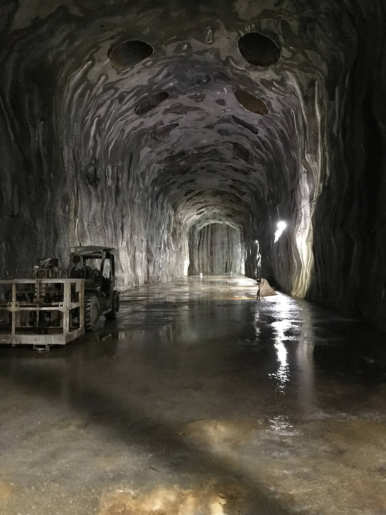 From November: A cave, or forebay, 500 feet underground, is part of Southern Nevada Water Authority's low level pumping station at Lake Mead. Pumps removed about 500 gallons of water per minute du ...