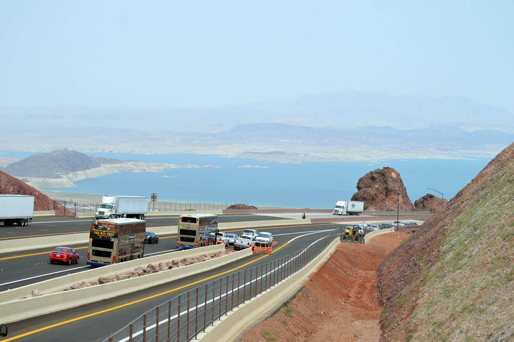 Interstate 11 in Boulder City features a scenic overlook that provides a bird's-eye view of Lake Mead.